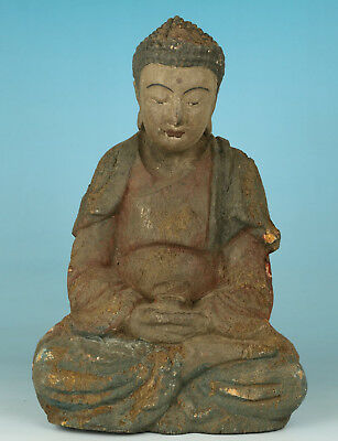 Big Chinese Old Wood Hand-Carved think Buddha Monk Statue Figure