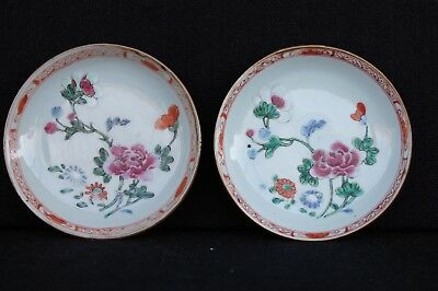 Two famille rose saucers Chinese Export Qianlong period