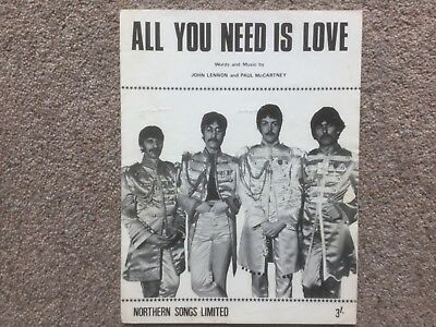 Beatles - All You Need Is Love  Original Sheet Music Including Words