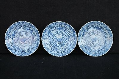 Three saucers with krab & fish decoration Chinese export in Great condition