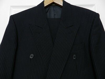 VINTAGE WW2 1940s DEMOB/SPIV TYPE DOUBLE BREASTED PINSTRIPE SUIT 40C 34W