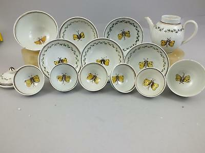 "A Rare ""pratt"" Pottery Yellow Butterfly Part Small Teaset 18Th Century"