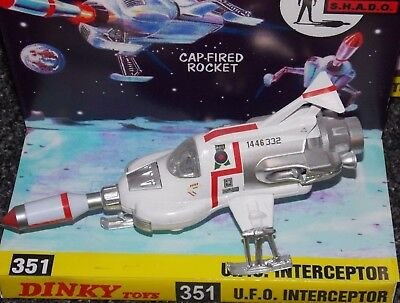 DINKY 351 U.F.O. Interceptor in correct TV colours with missile & Repro box.
