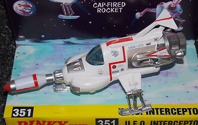 DINKY 351 U.F.O. Interceptor in correct TV colours with missile & Repro box