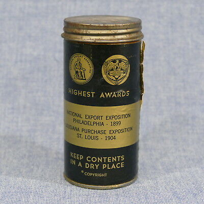 Antique Coe's Louisiana Purchase Expo 1904 Ribbon Real Gold Leaf ~ Cardboard Can