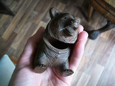 Outstanding 19th.C.Carved Black Forest Bear Inkwell.A good item.n/r