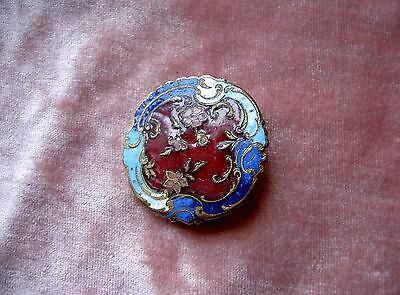 Large Antique Enamel French Button Diameter 1,259 Inch N°2
