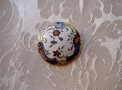 Large Antique French Enamel   Button Diameter 1,259 Inch