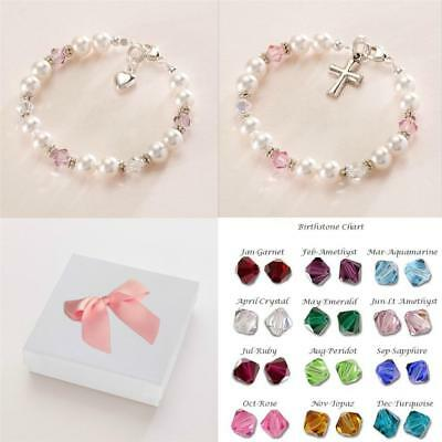 Bracelet for a Girls Christening or Communion with Birthstones, Silver & Pearls