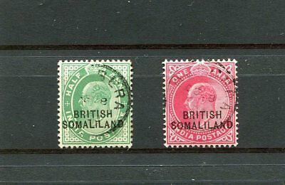 British Somaliland 2 -- Used E7 India Stamps With Overprint.
