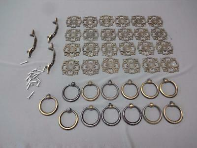 Vintage Lot Of JB Drawer Pulls Brass Rings Knobs 1968 Dresser Cabinet
