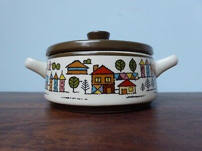 VINTAGE MID CENTURY LIDDED OVEN DISH RETRO 'COUNTRY VILLAGE' DESIGN 60's 'JAPAN