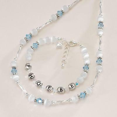 Girls Personalised Jewellery with Birthstones, Any Name,Necklace & Bracelet Set