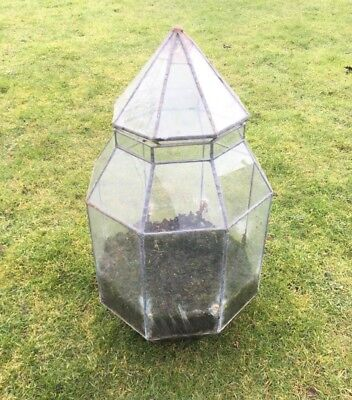 Large Glass and Lead Table Top Terrarium Internal Garden for Succulents and More