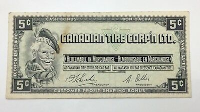 1961 Canadian Tire 5 Five Cents CTC-S1-B-H Circulated Money Banknote E118