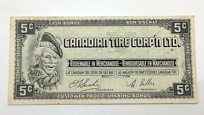 1961 Canadian Tire 5 Five Cents CTC-S1-B-H Circulated Money Banknote E119