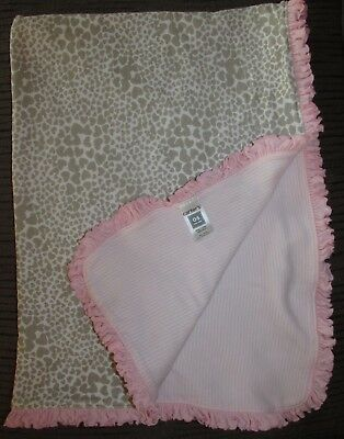 Carters Pink Gray Cheetah Leopard Animal Heart Print Baby Blanket Lovey