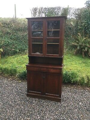 Antique Glazed Bookcase / Sideboard In Two Pieces