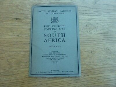 1930s 40s SOUTH AFRICAN RAILWAYS TOURING MAP OF S AFRICA ORIGINAL