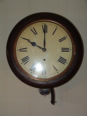 Antique Mahogany Anglo Swiss Railway Station Wall Clock Great Condition.