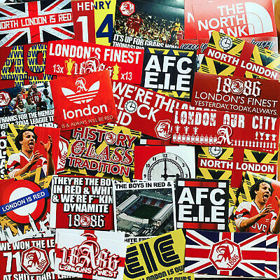 100 x Arsenal Stickers inspired by Shirt Scarf Badge Flag Banner Highbury AFC