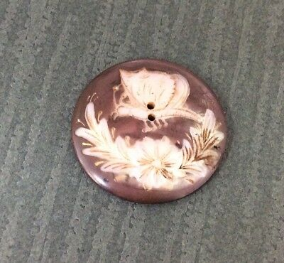 Carved Butterfly & Floral On Smoky Mother Of Pearl Button