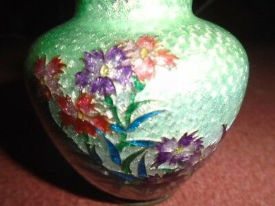 Vintage Japanese Ginbari Cloissonne Small Vase Silver Backed Metal Unsigned