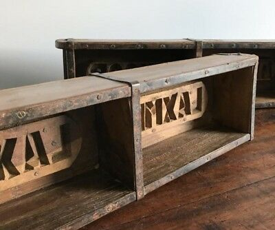 Vintage Double Brick Mould, Wooden Storage Box Small Wood Shelf Antique Crate