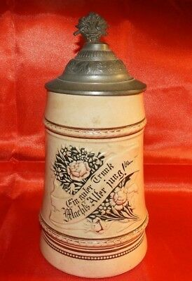 Antique Earthenware German Beer Stein  w/saying marked in lid R.P.M.