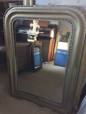 Vintage French Louis Philippe Gilt Overmantle Mirror - gold w. blue accent