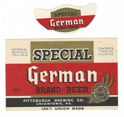 Pittsburgh Brewing Special German Beer label with neck IRTP Uniontown PA