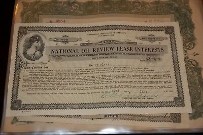 National Oil Review Lease Interests  Ft. WorthTX STOCK CERTIFICATE Rare 1923