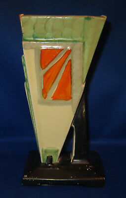 Very Rare Vintage MYOTT Art Deco Wedge Vase Handpainted Colourway 9360