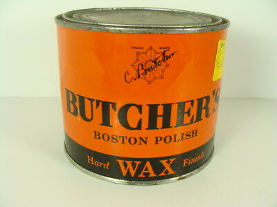 Vintage 1960s Butcher's Boston Polish Wax 1 pd Can 1/4 Filled