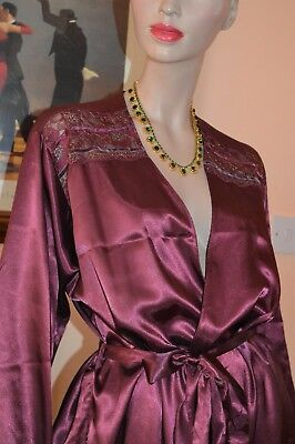 Silky Glossy wet look Satin VTG Peignoir Dressing Gown 16
