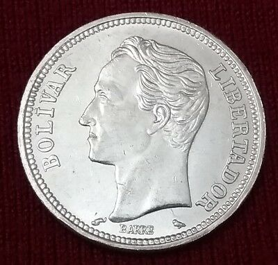 $AUCTION$ Silver Coin 1965 Venezuela 2 Bolivares AU Y#A37 Dollar