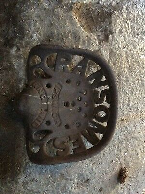 Cast iron seat / genuine farm collectable / antique / Ransomes