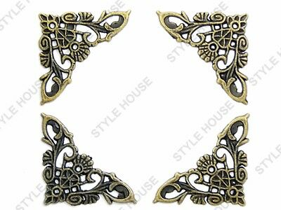 35mm ANTIQUE BRASS FINISH METAL CORNER PROTECTOR BRACKETS VINTAGE STYLE, 4 PACK