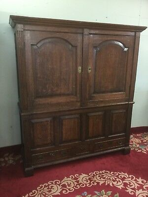Antique Georgian English Oak Wardrobe / House Keepers Cupboard