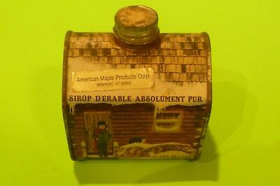 OLD Vintage 1984 Vermont Pure Maple Syrup 8.45 oz. Log Cabin Tin Metal Can EMPTY