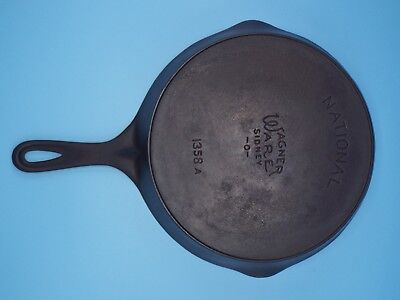 Vintage Wagner Ware National No.8 Cast Iron  Skillet, # 1358, Outside Heat Ring