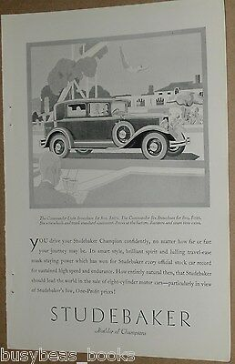 1929 Studebaker advertisement, STUDEBAKER Commander Eight Brougham, Art Deco