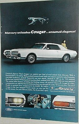1967 Mercury Cougar advertisement page, first year of the Mercury Cougar