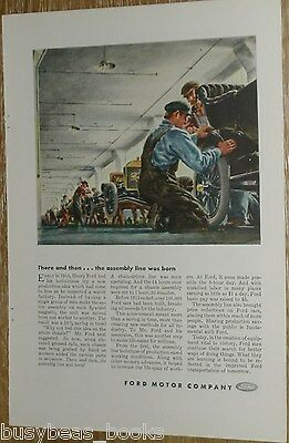 1944 Ford Motor Company advert., FORD MODEL T assembly line, factory workers