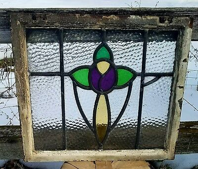 Beautiful antique, steel framed, leaded stained glass in good used condition.
