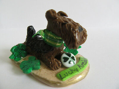 """Hand Sculpted Art~~~Lucky Airedale Terrier """"st. Patrick's Day"""" Art Figurine~~~"""