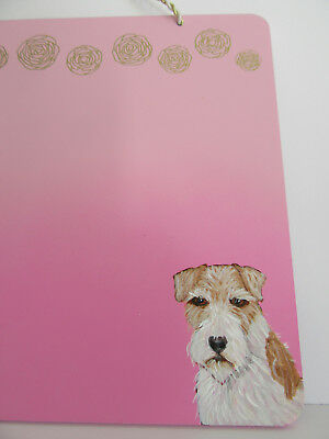 HAND PAINTED ART~Wire Fox Terrier HANGING WOOD CHALK BOARD SIGN HOME DECOR~OOAK
