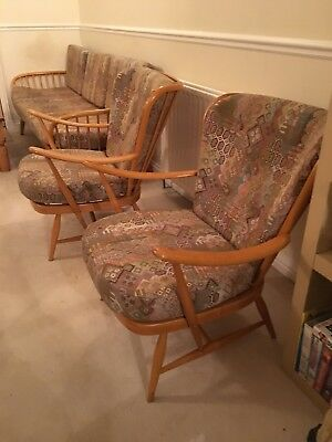 ercol sofa settee and chairs, light/ blond colour 1960s, professionaly restored
