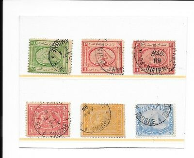 6 Egyptian stamps used in Ottoman Smyrna PO