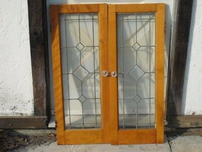 Antique One Pair Beveled Glass Leaded Cabinet Doors  28 X 36 In,  glass knob